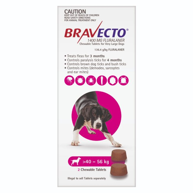 Bravecto Pink Chew for Very Large Dogs - 2 Pack 1