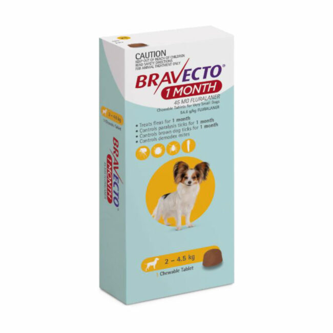 Bravecto 1 Month Yellow Chew for Very Small Dogs - Single 1