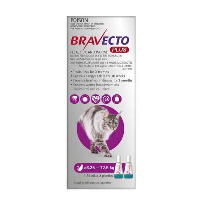 Bravecto Plus Purple Spot-On for Large Cats - 2 Pack 1