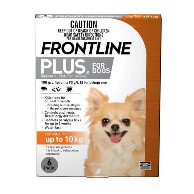 Frontline Plus Orange Spot-On for Small Dogs - 6 Pack 1