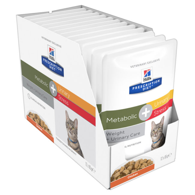 Hills Prescription Diet Feline Metabolic + Urinary Stress 85g x 12 Pouches