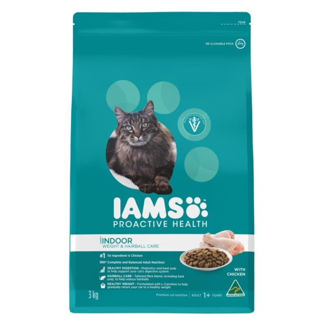 IAMS Adult Cat Indoor Weight and Hairball Care Chicken 3kg 1