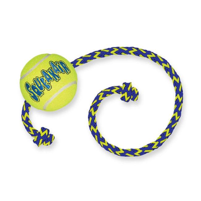 KONG SqueakAir Tennis Ball with Rope Medium 1