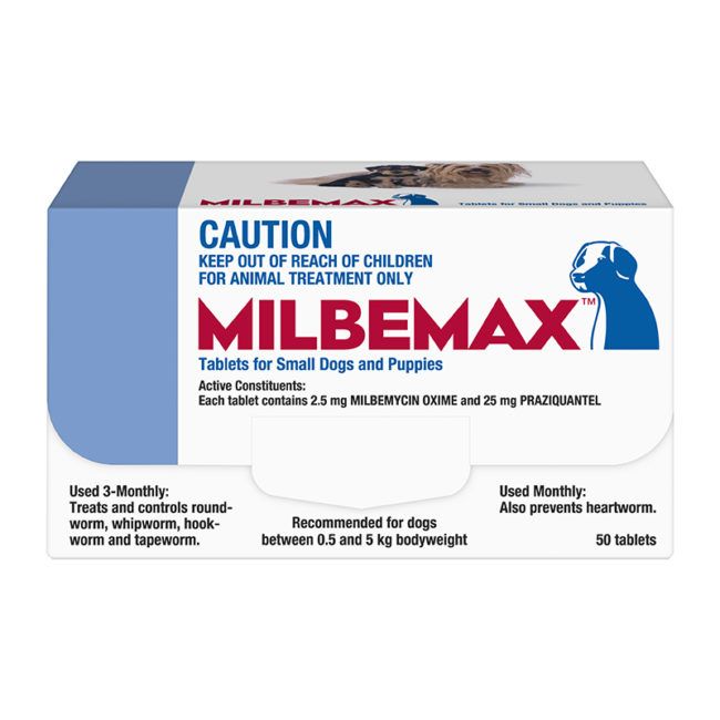 Milbemax Allwormer Tablets for Small Dogs & Puppies (0.5-5kg) - 50 Pack 1