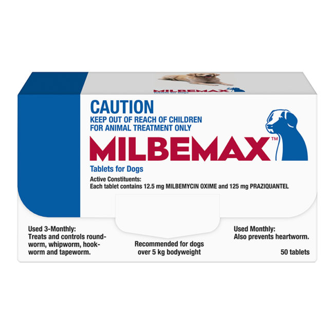 Milbemax Allwormer Tablets for Dogs (5-25kg) - 50 Pack 1