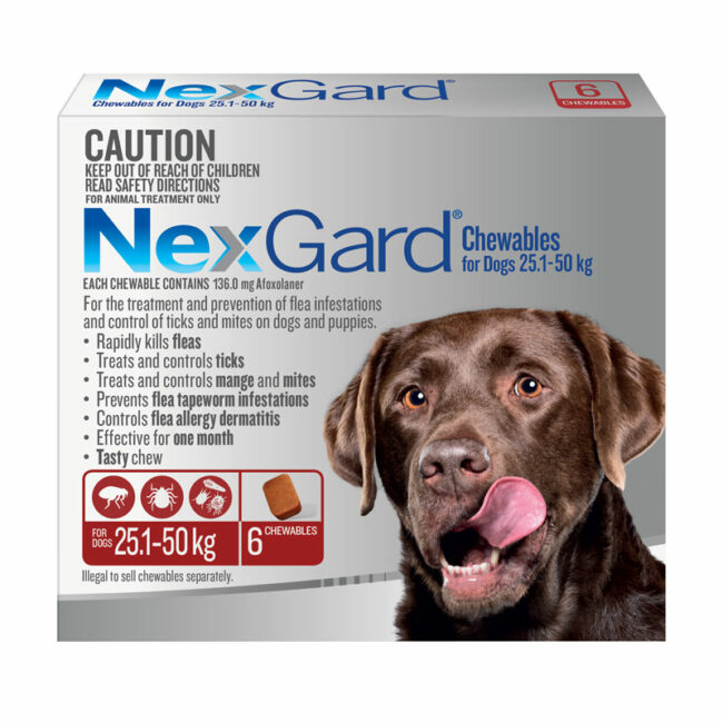 NexGard Red Chews for Extra Large Dogs (25.1-50kg) - 6 Pack 1