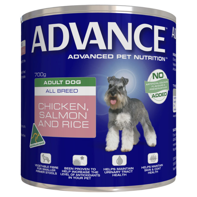 Advance Adult Dog All Breed Chicken Salmon & Rice 700g x 12 Cans 1