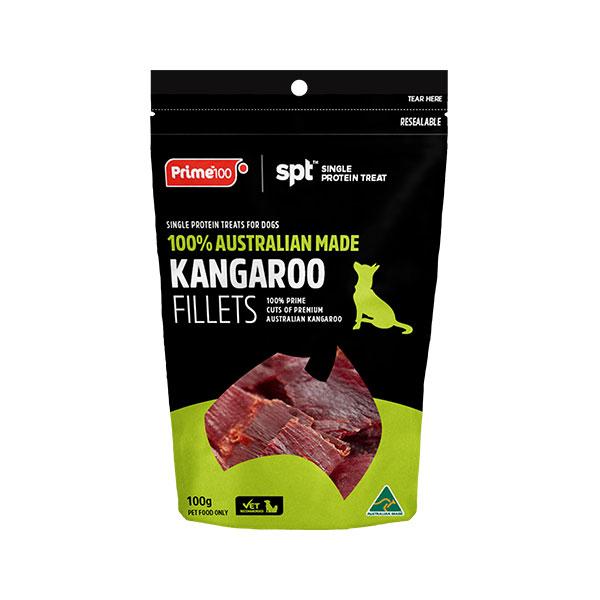 Prime100 SPT Single Protein Dog Treats Kangaroo Fillets 100g 1
