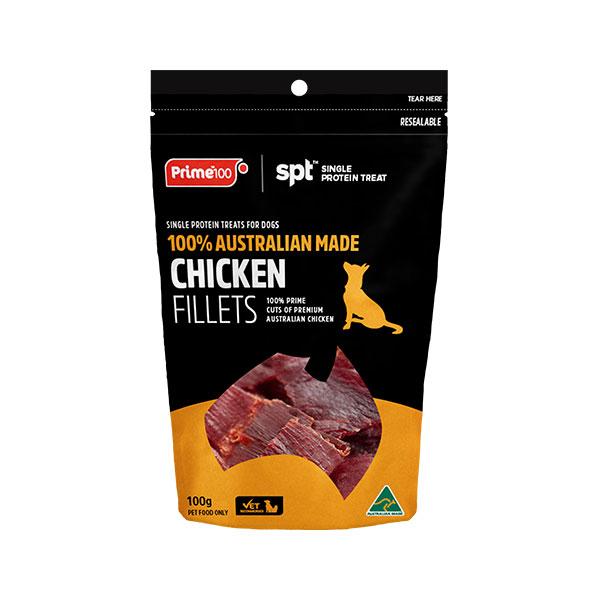 Prime100 SPT Single Protein Dog Treats Chicken Fillets 100g 1