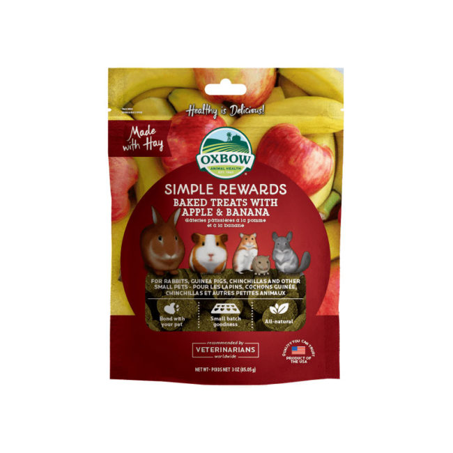 Oxbow Simple Rewards Baked Treats with Apple and Banana 85g 1