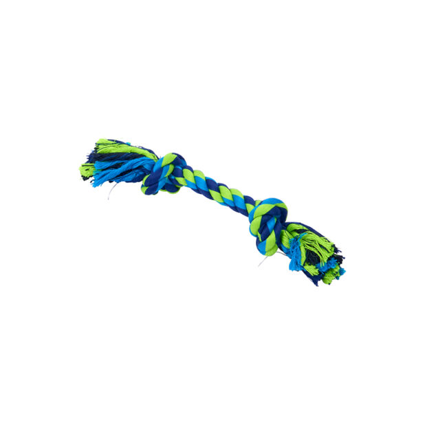 BUSTER Colour Dental Rope Dog Toy 2-Knot Blue/Lime X-Small 1