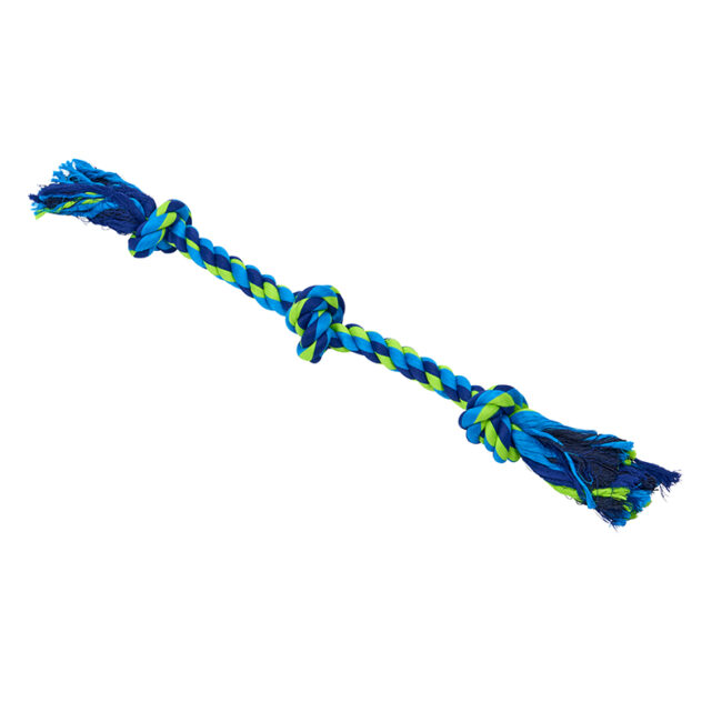 Buster Colour Dental Rope Dog Toy 3-Knot Blue/Lime Medium 1