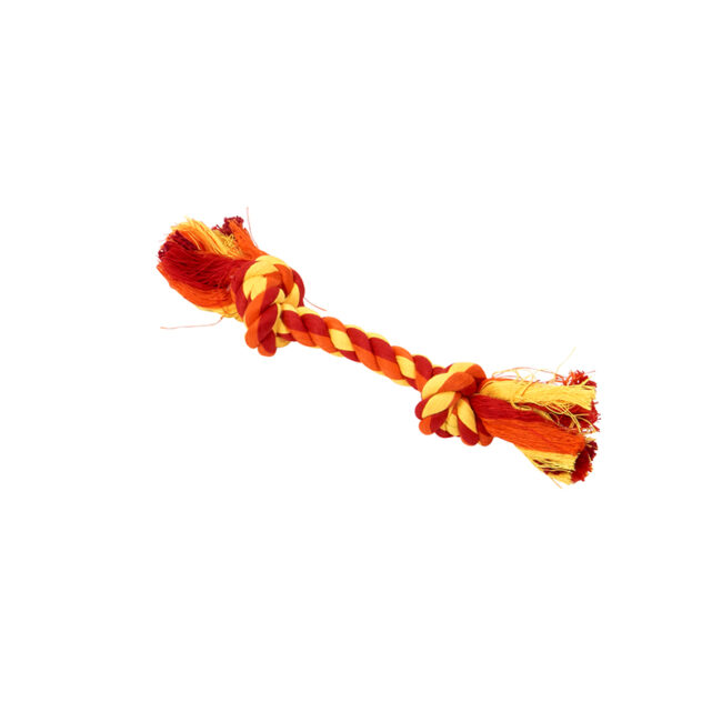 BUSTER Colour Dental Rope Dog Toy 2-Knot Red/Orange/Yellow X-Small 1