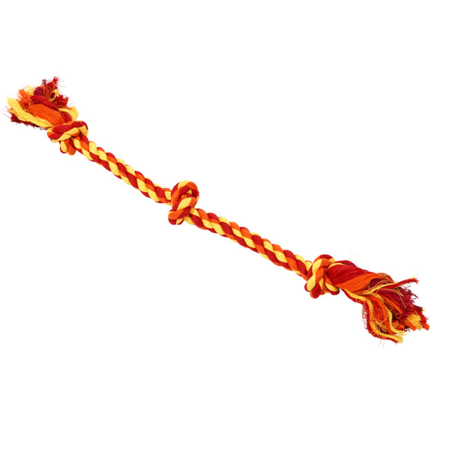 BUSTER Colour Dental Rope Dog Toy 3-Knot Red/Orange/Yellow Large 1