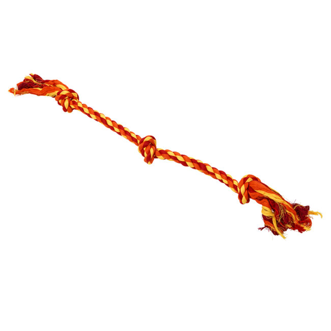 BUSTER Colour Dental Rope Dog Toy 3-Knot Red/Orange/Yellow X-Large 1