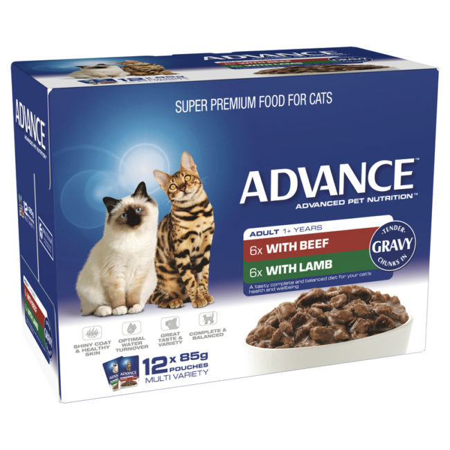 Advance Adult Cat Multi Variety in Gravy 85g x 12 Pouches 1