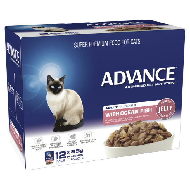 Advance Adult Cat with Ocean Fish in Jelly 85g x 12 Pouches 1