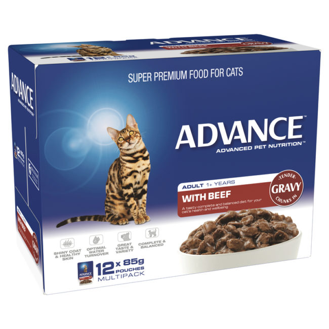 Advance Adult Cat with Beef in Gravy 85g x 12 Pouches 1